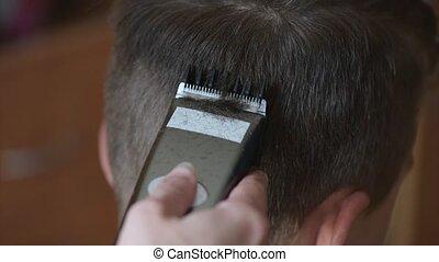 Boy haircut short hair - Close-up of boy teenager haircut...