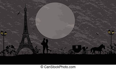 Carriage and lovers in Paris against grey sky