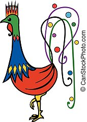 Courtier Rooster - Stylized Colourful Rooster, 2017 - Year...