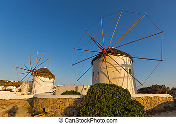 Sunset view of White windmills - Sunset of White windmills...