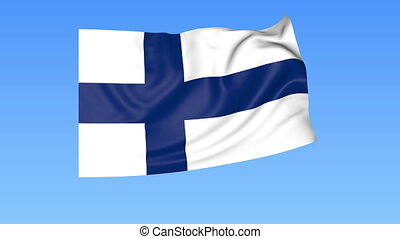 Waving flag of Finland, seamless loop. Exact size, blue background. Part of all countries set. 4K ProRes with alpha