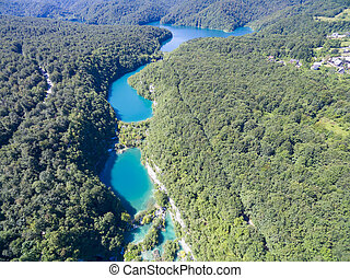 aerial view of beautiful nature in Plitvice Lakes National...
