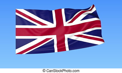 Waving flag of the United Kingdom of Great Britain and Northern Ireland, seamless loop. Exact size, blue background