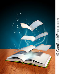 Magical book - Pages flying away from a magical book Digital...