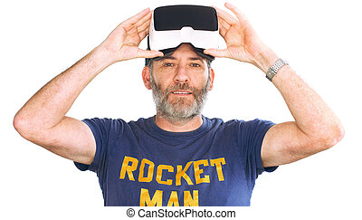 mature man wearing virtual reality googles VR Glasses -...