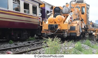 Restoration the railroad tracks - Bangkok, Thailand -...