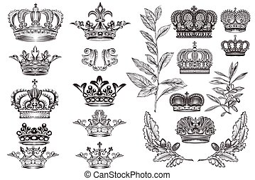 High detailed crowns set or collection in vintage heraldic style for design.eps