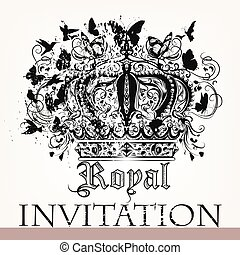 Royal invitation card with crown - Luxury invitation card...