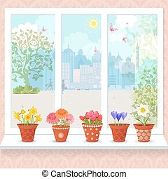 cute flowers planted in ceramic pots on a windowsill for your de