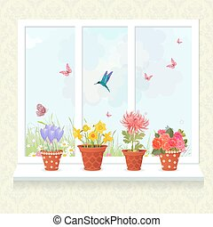 lovely flowers planted in ceramic pots on a windowsill for your