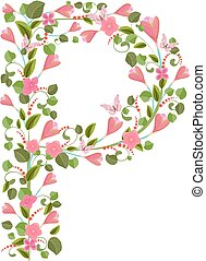 Floral font with with spring pink flowers Romantic alphabet...