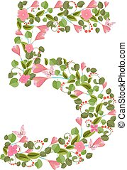 Floral font with spring pink flowers. Romantic number five