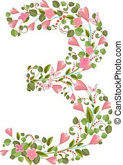 Floral font with spring pink flowers. Romantic number three