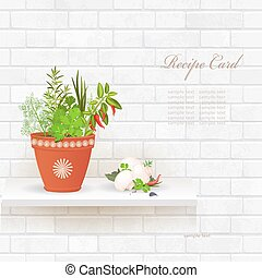 shabby chic brick wall with different herbs in pot and mushrooms