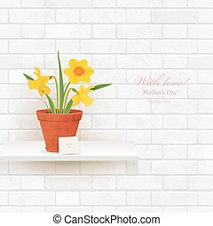 shabby chic brick wall with daffodils in pot for your design.