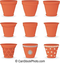 collection of empty flowerpots for your design