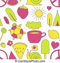 hand drawn neon doodles pattern vector illustration coffee cup, sun, ice cream, heart, cloud, rainbow, turtle, feather, pacific, snail, wigwam, watermelon, strawberry isolated on white background