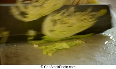 Cabbage vegetable split on wood cutting board
