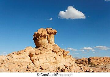 Scenic orange rock in shape of mushroom in stone desert, Israel