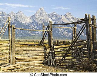 Teton Corral - An old corral with the Grand Teton Range...
