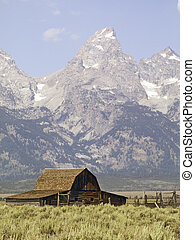 Teton Barn, Mormon Row, Wyoming - An old barn on Mormon Row,...