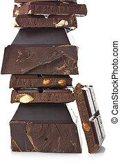 Broken dark chocolate - Stack of assorted broken dark...