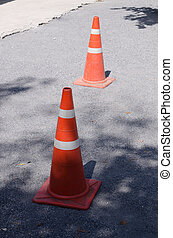 Traffic cone on road construction site - Traffic cone, with...