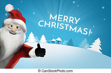 santa claus chistmas thubms up 3d render