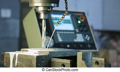 Adjustment feed cutting fluid worker, running a drill press...