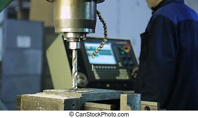 Preparation for drilling on a drilling machine, CNC dripping...
