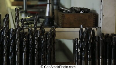 Drill bit for CNC machines and automatic lines, closeup. On...