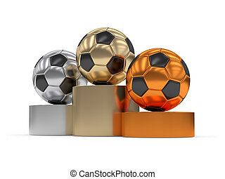 3d rendered podium with soccer balls isolated on white
