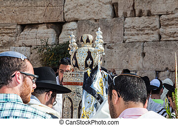 The Torah Roll in magnificent case - JERUSALEM, ISRAEL -...