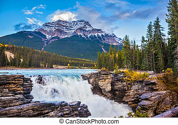 Pyramidal mountain and waterfall Athabasca - Powerful...