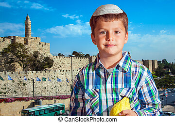 Charming seven year old boy in Jerusalem - Charming seven...