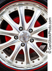 Close up alloy rims - Close up of rims from a sport car
