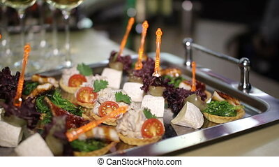 canapes at a spacing in the restaurant
