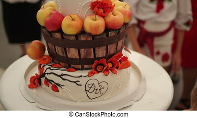 cake decorated with apples