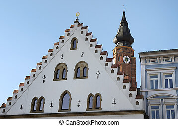Historic Straubing - City of Straubing with historic house...