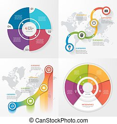 Set of four vector infographic templates. Business, education, industry, science concept with 4 values, options, parts, steps, processes.