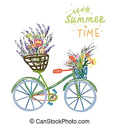 Happy summer time card with bicycle and flowers, nice...