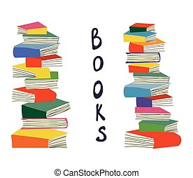 Books piles background for the educational card