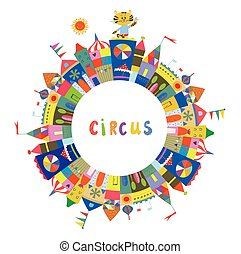 Circus frame for the card or banner, funny design,