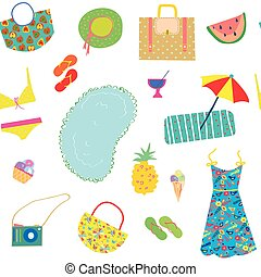 Summer funny pattern for woman with accessories, fruits and...