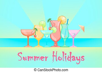 Summer Cocktails Vector background - Summer Cocktails Relax...