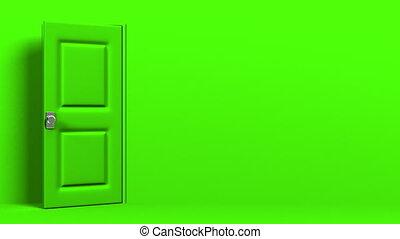 Green Door With Text Space And Dark Room 3DCG render...