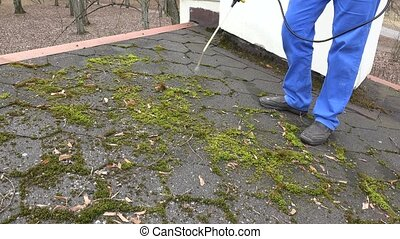 worker man spray moss with chemicals on roof tiling. Static...