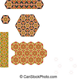 byzantium mosaics - old ancient ornaments in vector eps file