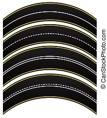 Set of 4 road, highway, roadway shapes. Dashed and straight...