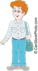 Cheerful young man - Vector illustration of a friendly...